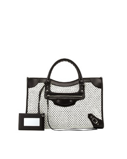 Balenciaga Classic City Woven Bag, White/Black