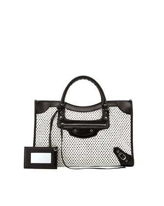 Classic City Woven Bag, White/Black