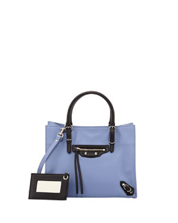 Balenciaga Papier A4 Mini Magnet Tote Bag, Purple/Black