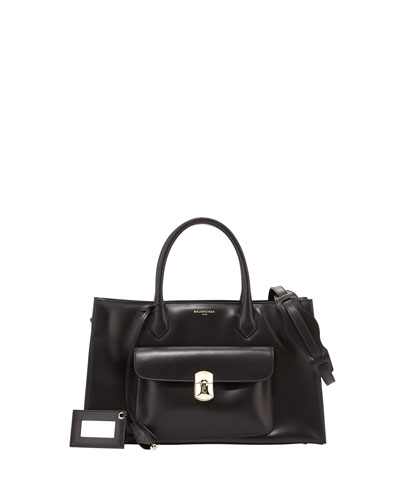 Balenciaga Padlock Work S Bag, Black