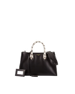 Balenciaga Padlock Nude Works Tote Bag, Black