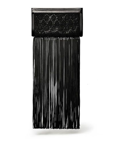 THE ROW Woven Wrap Clutch with Fringe, Black