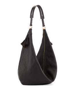 THE ROW Sling 15 Horsehair Tassel Hobo Bag, Black