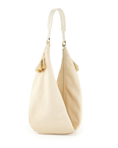 THE ROW Sling 15 Horsehair-Tassel Hobo Bag, Neutral