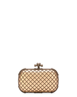 Bottega Veneta Metal Cage Knot Clutch Bag, Brown/Black