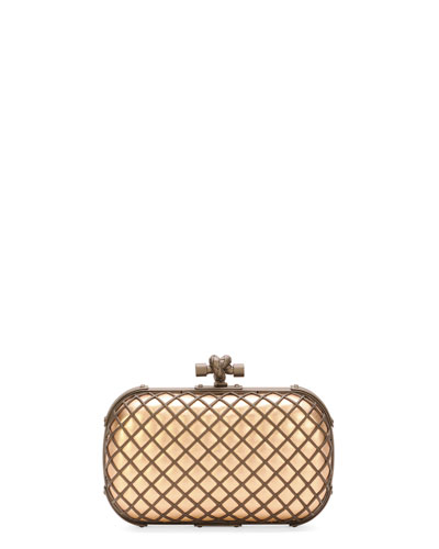 Metal Cage Knot Clutch Bag, Brown/Black