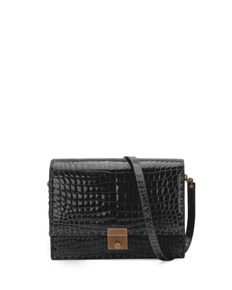 Crocodile Flap Shoulder Bag, Black
