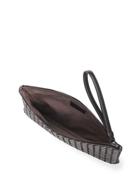 Woven Napa Wristlet Pouch, Black
