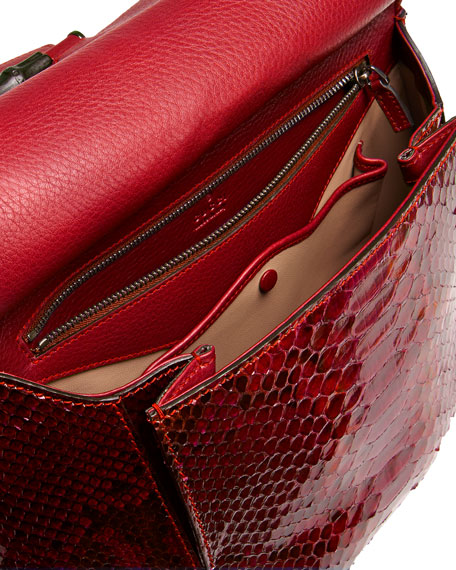 Nouveau Python Shoulder Bag, Red