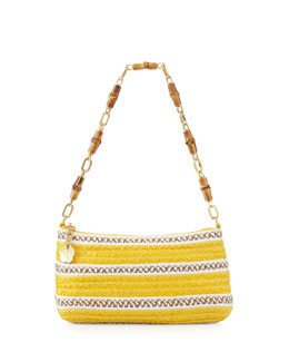 Eric Javits Bulu Bamboo Handle Clutch Bag, Yellow Mix