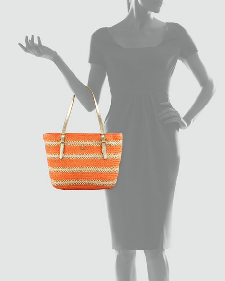 Jav Striped Squishee Tote Bag, Tangerine