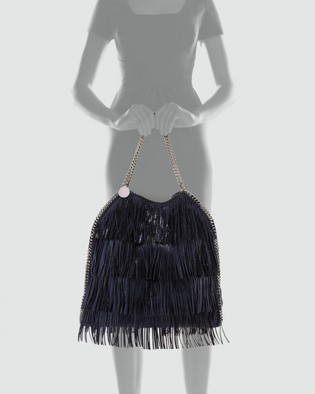 Falabella Large Fringe Tote Bag, Metallic Blue