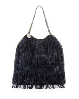 Stella McCartney Falabella Large Fringe Tote Bag, Metallic Blue