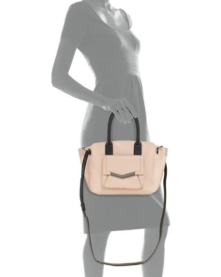Jo Mini Leather Tote Bag, Pink/Black