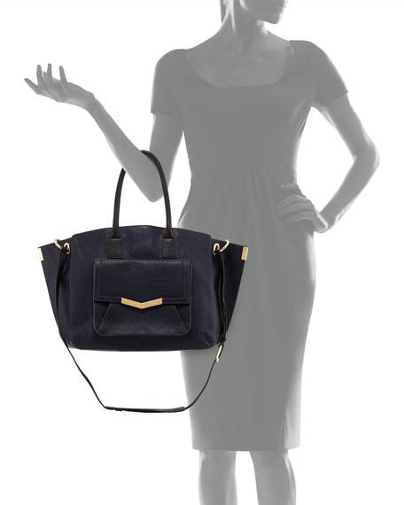 Jo Lizard-Print Tote Bag, Navy