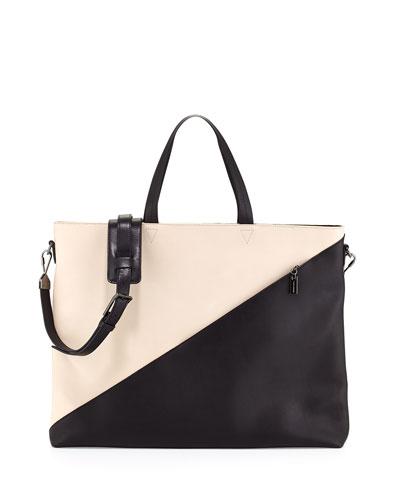 Infinite Colorblock Satchel Bag, White/Black