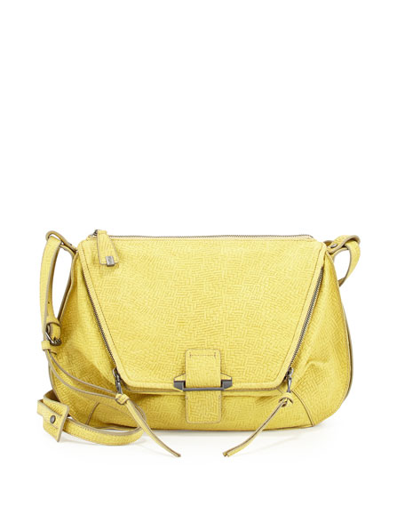 Leroy Leather Shoulder Bag, Yellow