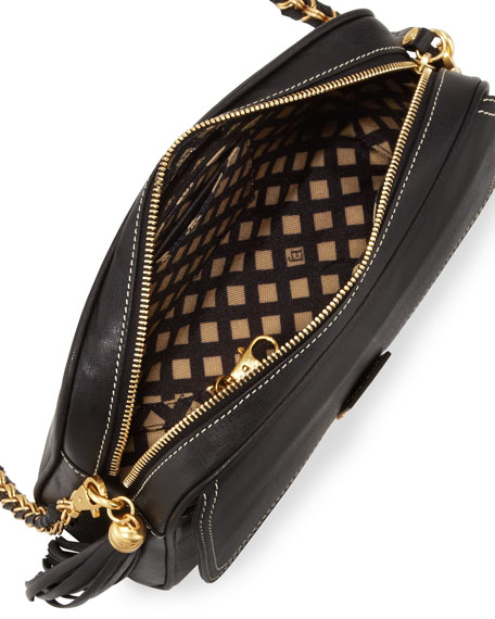 Zip Pouch Pebble Leather Flap/Crossbody Bag, Black