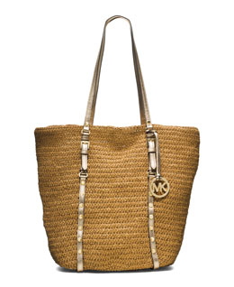 MICHAEL Michael Kors  Large Studded Straw Shopper