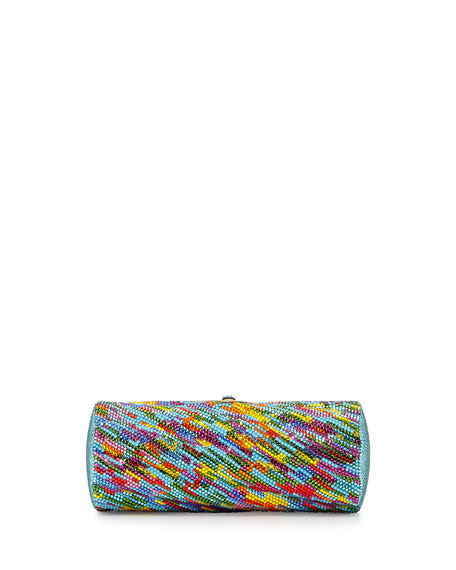 Watercolors Twisted Tube Crystal Clutch, Multi