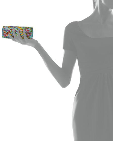 Striped Crystal Clutch Bag