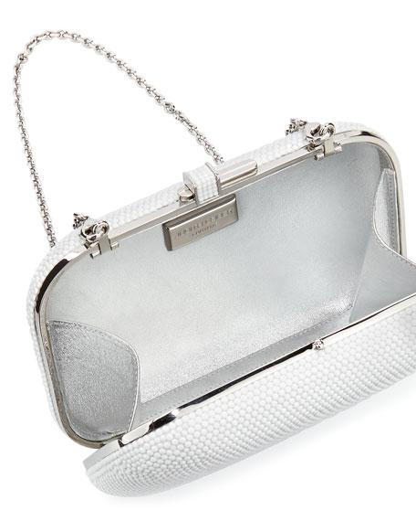 Crystal Slide-Lock Clutch Bag, Silver/Chalk