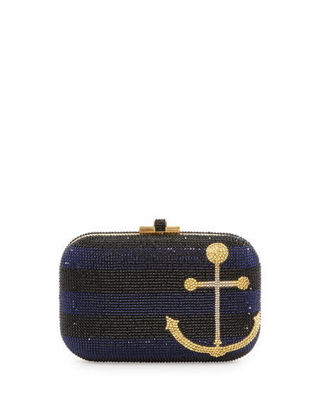 Anchors Away Slide-Lock Crystal Clutch Bag