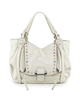 Kooba Jonnie Studded Leather Hobo Bag, White
