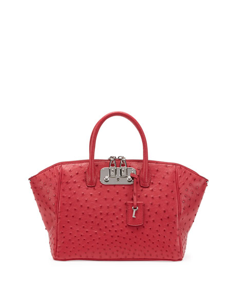 Brera Ostrich Satchel Bag, Pink