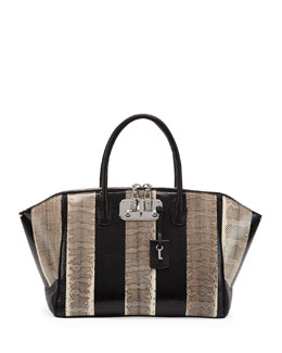 VBH Brera Snakeskin Medium Satchel Bag, Black