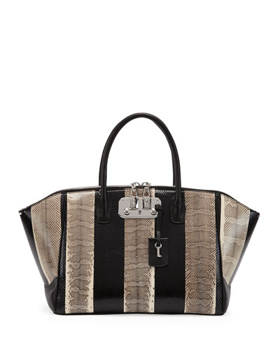 VBH Brera Snakeskin Medium Satchel Bag, Black