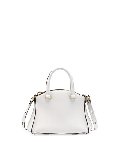 Trevi Mini Calfskin Satchel Bag, White/Black