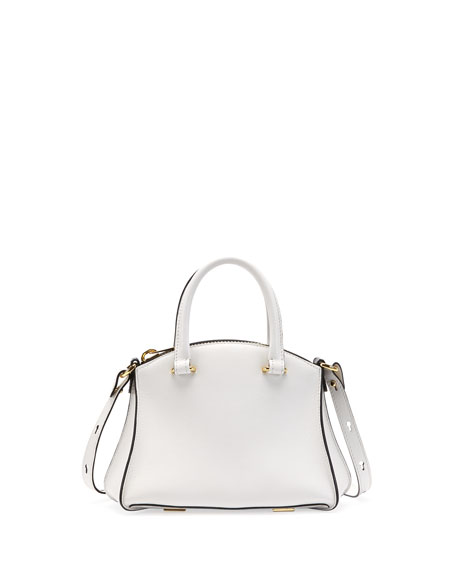 Trevi Mini Calfskin Satchel Bag, White/Black