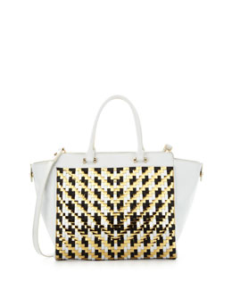 Milly Dylan Woven Leather Tote Bag, White