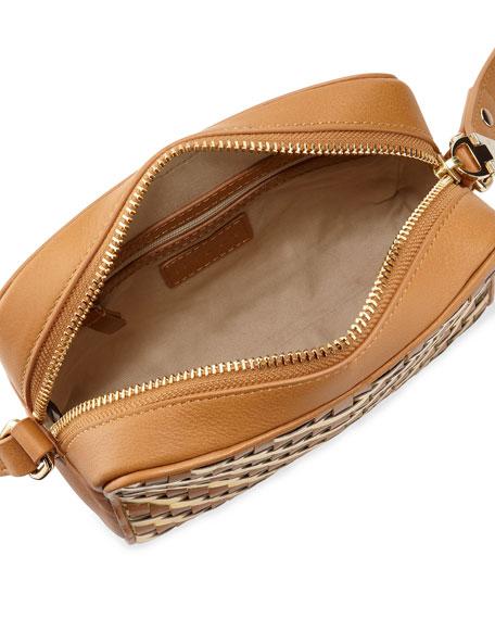 Dylan Woven Zip Crossbody Bag, Caramel