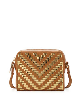 Milly Dylan Woven Zip Crossbody Bag, Caramel