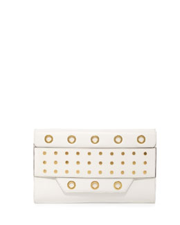 Milly Kent Grommet Flap Clutch Bag, White