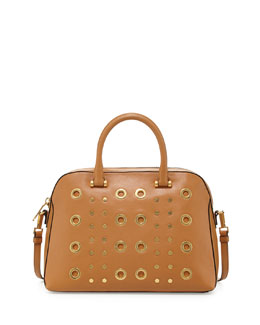 Milly Kent Leather Satchel Bag, Caramel