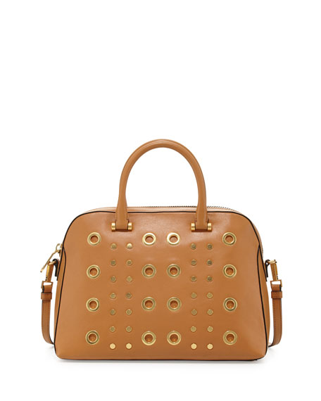 Kent Leather Satchel Bag, Caramel