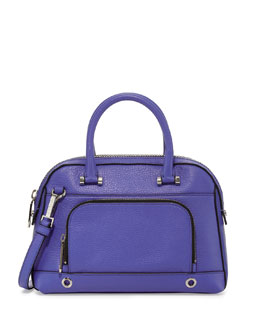 Milly Astor Small Pebbled Satchel Bag, Cobalt