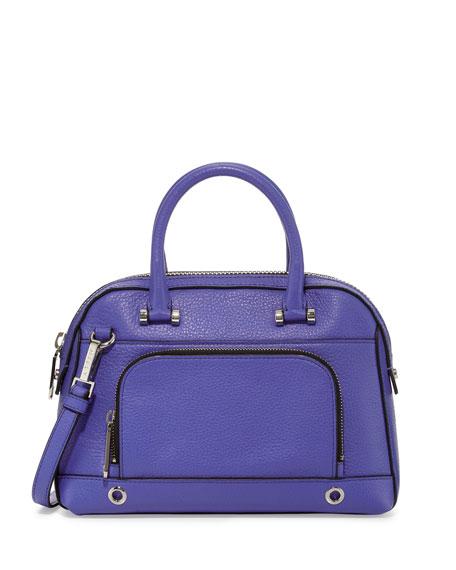 Astor Pebbled Satchel Bag, Cobalt