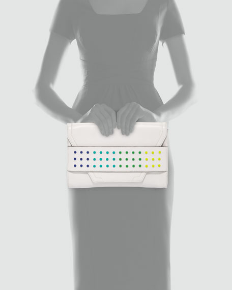 Milly Colored-Dot Leather Clutch Bag, White
