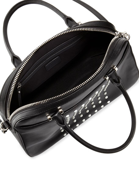 Studded Leather Satchel Bag, Black/White