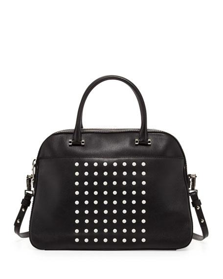 Milly Studded Leather Satchel Bag, Black/White