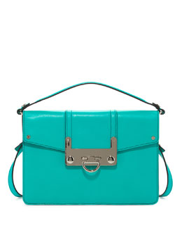 Milly Bryant Leather Flap Crossbody Bag, Turquoise