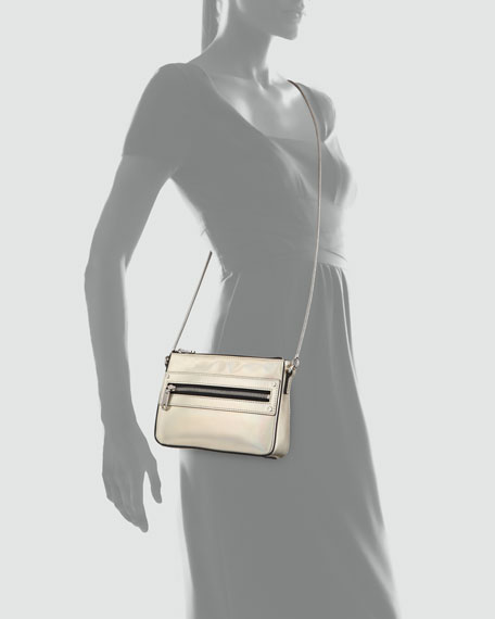 Demi Hologram Mini Crossbody Bag, Champagne
