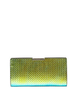 Milly Miley Holographic Frame Clutch Bag, Green/Blue