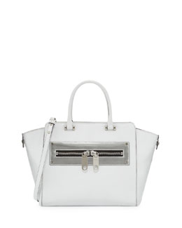 Milly Riley Leather Tote Bag, White