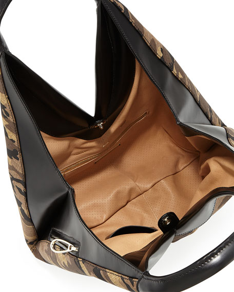 Camo Canvas Knapsack Hobo Bag, Multi