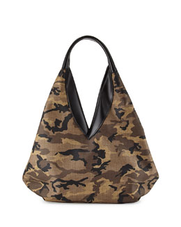 VBH Camo Canvas Knapsack Hobo Bag, Multi